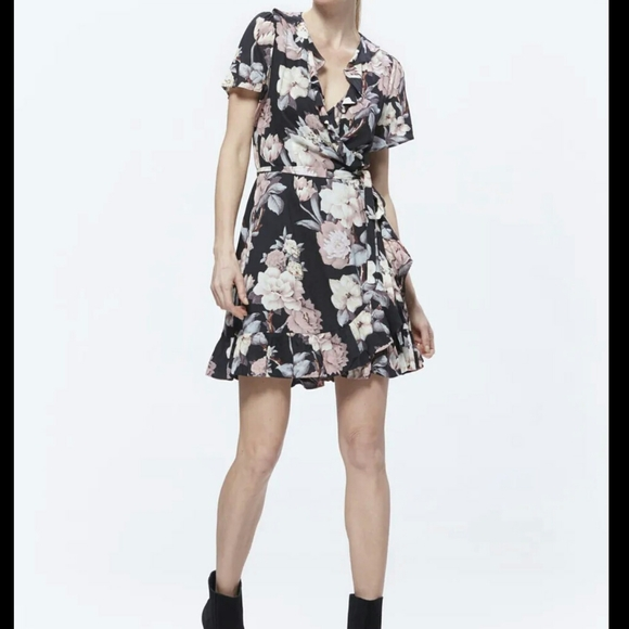 PAIGE Cardamom Floral Wrap Dress Black Sz S
